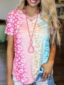 Pink Colorful Tie Dye Gradient V-neck Short Sleeve Casual T-Shirt