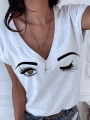 White Eye V-neck Short Sleeve Casual T-Shirt