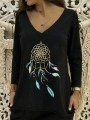 Black Floral Pattern Bodycon Comfy V-neck Long Sleeve Going out T-Shirt