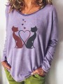 Purple Floral Pattern Bodycon Comfy Round Neck Going out T-Shirt