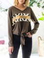 Brown Leopard Sequin Bow V-neck Long Sleeve Fashion T-Shirt