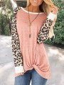 Pink Patchwork Leopard Print Round Neck Long Sleeve Preppy Style Casual T-Shirt