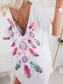 White Floral Backless Elbow Sleeve Oversize Fashion T-Shirt