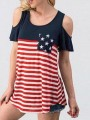 Red-White American Flag Pattern Pockets Cut Out Short Sleeve Casual T-Shirt