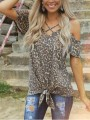 Brown Leopard Pattern Cut Out Bowknot Short Sleeve Casual T-shirt