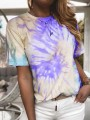 Purple Tie Dye Round Neck Short Sleeve Fashion T-Shirt
