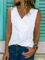 White Plus Size Comfy Casual Going out V-neck Vest