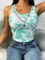 Green-White Camouflage Pattern Round Neck Sports Crop Vest