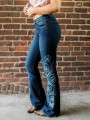Dark Blue Floral Embroidery High Waisted Flare Bell Bottom Vintage Long Jeans