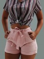 Pink Sashes Pockets Buttons High Waisted Fashion Short Jeans