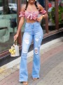 Light Blue Cut Out Distressed Ripped Pockets High Waisted Denim Bell Bottomed Flares Long Jean