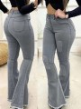 Grey Patchwork Buttons Pockets Flare High Waisted Fashion Jeans Pants