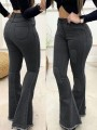 Black Patchwork Buttons Pockets Flare High Waisted Fashion Jeans Pants