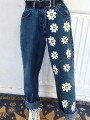 Dark Blue Flowers Pattern Zipper High Waist Fashion Long Jeans