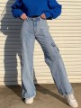 Blue Pockets Push Up Casual Dungarees Long Jeans