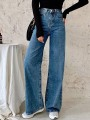 Dark Blue Patchwork Zipper Buttons Straight Mid-rise Fashion Jean Pants