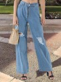 Light Blue Pockets Buttons High Waisted Knee Ripped Destroyed Long Wide Leg Palazzo Jeans