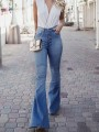 Light Blue Pockets Buttons Flare High Waisted Fashion Jeans Pants