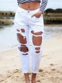 White Patchwork Ripped Destroyed Buttons Straight Nine's Mid-rise Jeans Pants