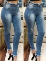 Light Blue Ripped Destroyed Pockets Distressed High Waisted Plus Size Long Jeans