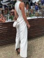 White Striped Buckles Sashes Double Breasted Turndown Collar V-neck Suit Long Wide Leg Jumpsuit