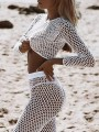 White Cut Out Mesh Two Piece Suit Beach Cover Up Sheer Beach Long Jumpsuit