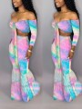 Pink Color Block Off Shoulder Knot Two Piece Cascading Ruffle Bohemian Bell Bottomed Flares Long Jumpsuit