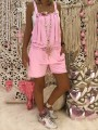 Pink Patchwork Lace Knot One Piece Bodycon Going out Jumpsuit