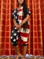 Red-White Striped American Flag Print One Piece Independence Day Casual Long Jumpsuit