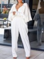 White Cut Out Lantern Sleeve Backless High Waisted Banquet Prom Party Long Jumpsuit