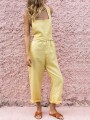 Yellow Backless Cross Back Tie Back Casual Short Jumpsuit