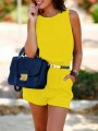 Yellow Belt High Waisted Round Neck Sleeveless Going out Short Jumpsuits