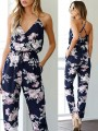Blue Floral Pattern Drawstring V-neck Sleeveless High Waisted Fashion Jumpsuits