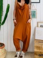 Brown Patchwork Pockets Overall Pants Ttrendy Fashion Long Jumpsuit