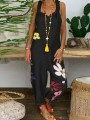 Black Floral Print Dungarees Overall Pants Fashion Jumpsuits