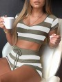 Army Green Striped Drawstring 2-in-1 Comfy Short Jumpsuits