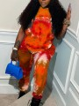 Orange Tie Dyeing Drawstring Two Piece Pockets High Waisted Casual Sports Long Jumpsuit