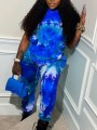 Blue Tie Dyeing Drawstring Two Piece Pockets High Waisted Casual Sports Long Jumpsuit