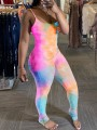 Orange Tie Dyeing Spaghetti Strap Bodycon Bohemian Beach Party High Waisted Long Jumpsuit