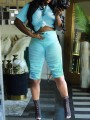 Blue Pleated Drawstring Two Piece Round Neck Short Sleeve Scrunch Casual Sports High Waisted Short Jumpsuit