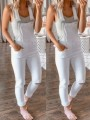 White Patchwork Pockets Overall Pants Fashion Jumpsuits