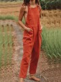 Orange Pockets Overall Pants Dungarees Fashion Long Jumpsuit