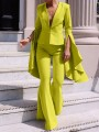 Yellow Buttons Bell Sleeve Two Piece Suit Elegant Party Bell Bottomed Flares Long Jumpsuit