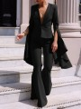 Black Buttons Bell Sleeve Two Piece Suit Elegant Party Bell Bottomed Flares Long Jumpsuit