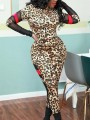 Brown Patchwork Grenadine Leopard Print High Waisted One Piece Clubwear Long Jumpsuit