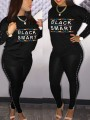 """Black """"BLACK AND SMART"""" Pearl Two Piece Bodycon Casual Long Jumpsuit"""