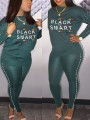 """Green """"BLACK AND SMART"""" Pearl Two Piece Bodycon Casual Long Jumpsuit"""