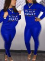 """Blue """"BLACK AND SMART"""" Pearl Two Piece Bodycon Casual Long Jumpsuit"""