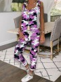 Purple Camouflage Pockets Cross Back High Waisted Long Jumpsuit Overall Pants