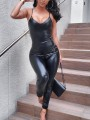 Black PU Leather Zipper Spaghetti Strap Backless High Waisted Long Jumpsuit